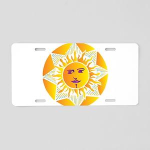 Smiling Sun Aluminum License Plate