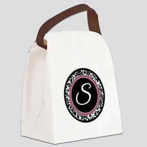 Letter S girly black monogram Canvas Lunch Bag