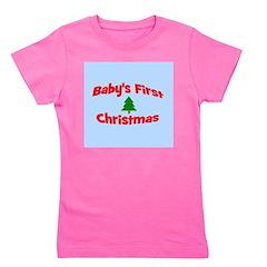 babysfirstchristmas_wtree_bluebg Girl's Tee