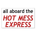 All Aboard The Hot Mess Express Sticker (Rectangle