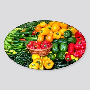 Colorful assortment of peppers Sticker (Oval)