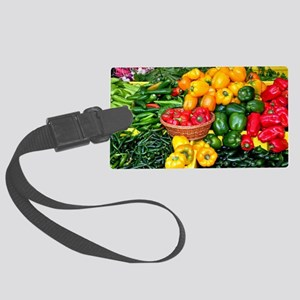 Colorful assortment of peppers Large Luggage Tag