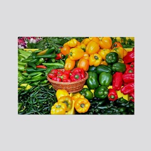 Colorful assortment of peppers Rectangle Magnet