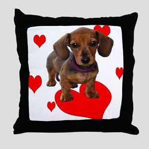 Love (Hearts) Dachshunds Throw Pillow