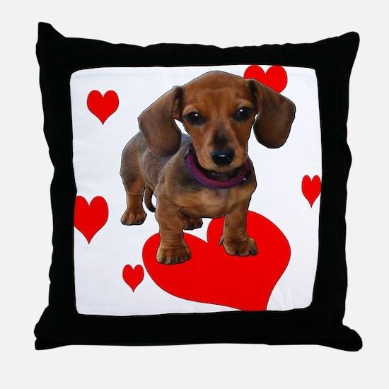Love (Hearts) Dachshunds Throw Pillow