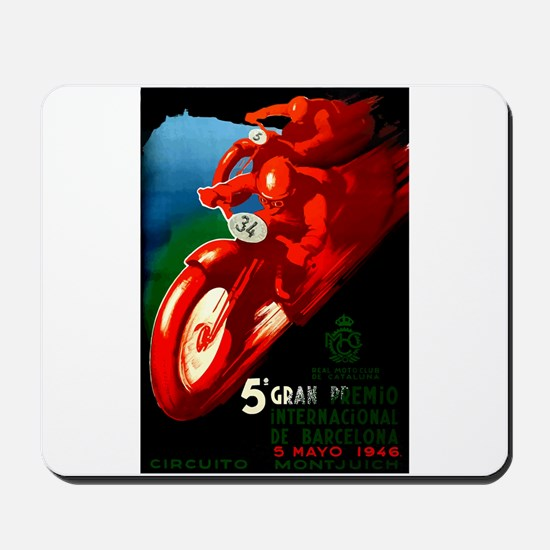 1946 Barcelona Grand Prix Motorcycle Race Poster M
