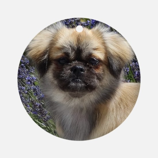 Faithful Tibetan Spaniel Round Ornament