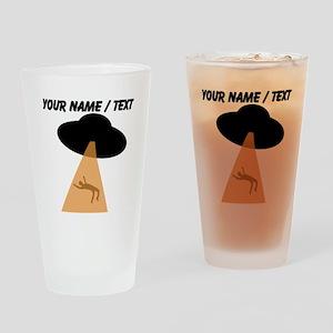 Custom Alien UFO Abduction Drinking Glass