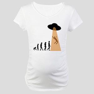 Alien UFO Abduction Evolution Maternity T-Shirt