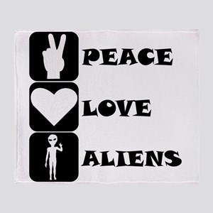 Peace Love Aliens Throw Blanket