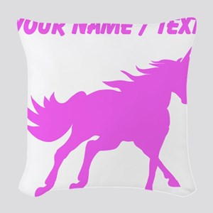 Custom Pink Unicorn Silhouette Woven Throw Pillow