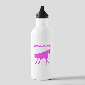 Custom Pink Unicorn Silhouette Sports Water Bottle