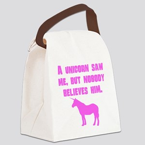 Pink A Unicorn Saw Me Canvas Lunch Bag