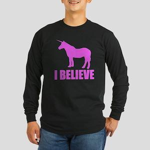 Pink Unicorn I Believe Long Sleeve T-Shirt