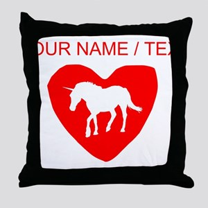 Custom Unicorn Heart Throw Pillow