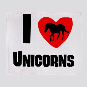 I Heart Unicorns Throw Blanket