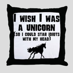 I Wish I Was A Unicorn Throw Pillow