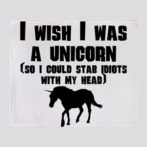I Wish I Was A Unicorn Throw Blanket