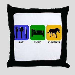 Eat Sleep Unicorns Throw Pillow