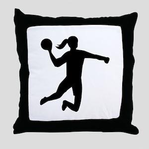 Womens handball Throw Pillow