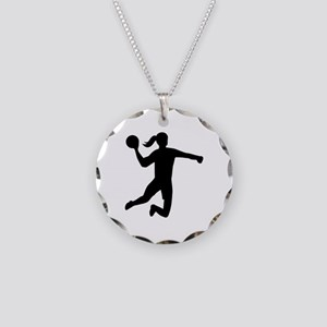 Womens handball Necklace Circle Charm