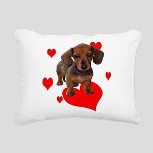Love Dachshunds (Hearts) Rectangular Canvas Pillow