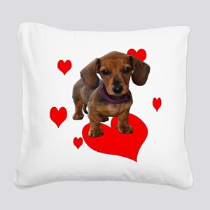 Love Dachshunds (Hearts) Square Canvas Pillow