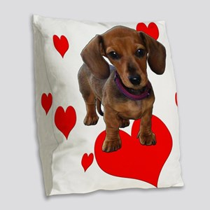 Love (Hearts) Dachshund Burlap Throw Pillow