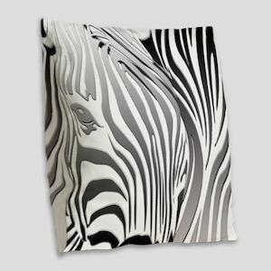 Zebra Silver - Black Burlap Throw Pillow