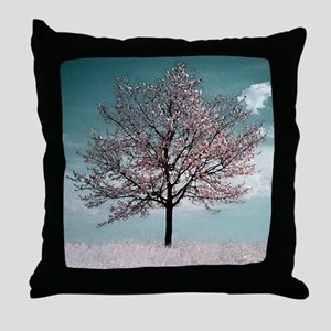 Pink Cherry Bloosom Tree Throw Pillow