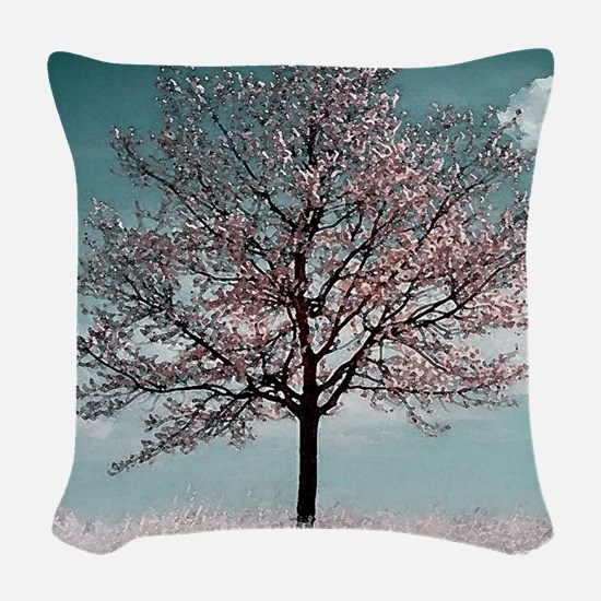 Pink Cherry Bloosom Tree Woven Throw Pillow