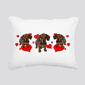 Love Dachsies (hearts) Rectangular Canvas Pillow