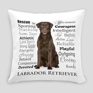 Chocolate Lab Traits Everyday Pillow