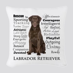 Chocolate Lab Traits Woven Throw Pillow