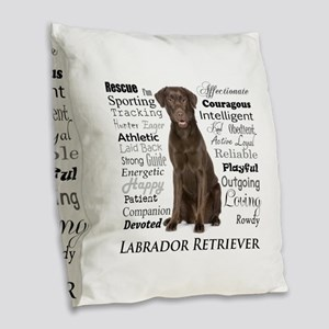 Chocolate Lab Traits Burlap Throw Pillow