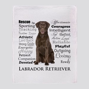 Chocolate Lab Traits Throw Blanket