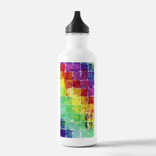 Geometric Squares Watercolor Water Bottle