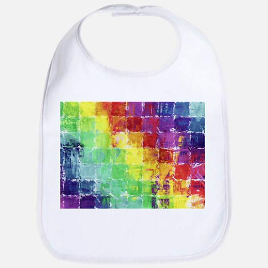 Geometric Squares Watercolor Bib