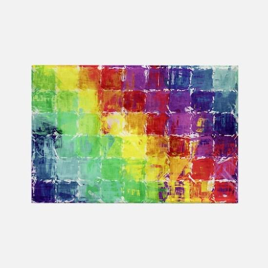 Geometric Squares Watercolor Rectangle Magnet