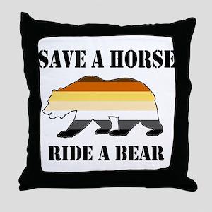 Gay Bear Save a Horse Ride a Bear Throw Pillow