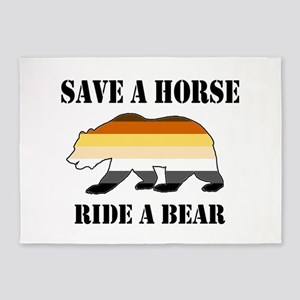 Gay Bear Save a Horse Ride a Bear 5'x7'Area Rug