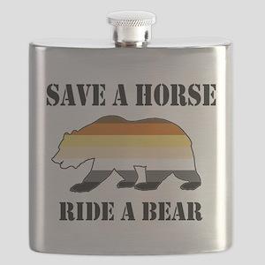 Gay Bear Save a Horse Ride a Bear Flask