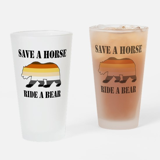 Gay Bear Save a Horse Ride a Bear Drinking Glass