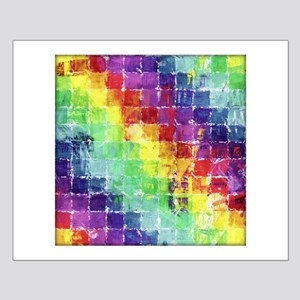 Geometric Squares Watercolor Small Poster