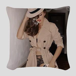 Femme Fatale - Smoking and Guns Woven Throw Pillow