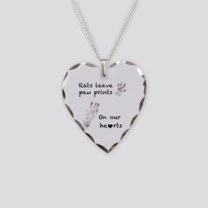 Paw Prints Necklace Heart Charm
