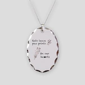 Paw Prints Necklace Oval Charm