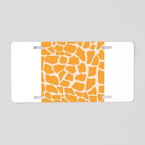 Orange Giraffe pattern Aluminum License Plate