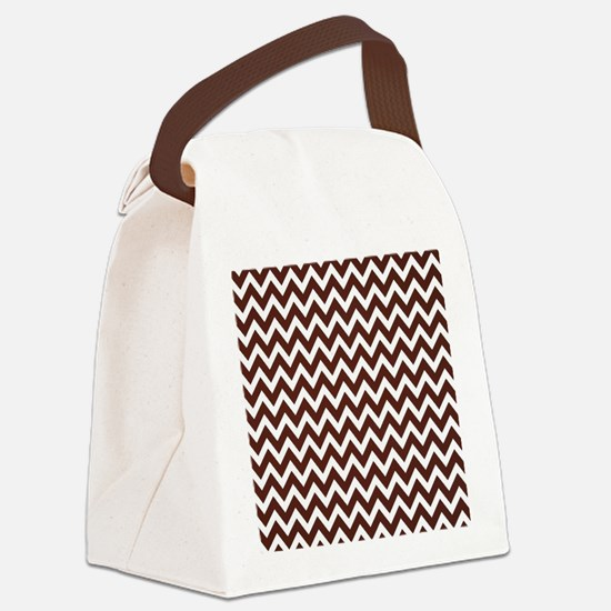 True Brown Chevron Canvas Lunch Bag