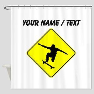 Custom Skateboarder Crossing Shower Curtain